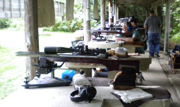Shooters at a short-range benchrest match at Elmira Ontario.