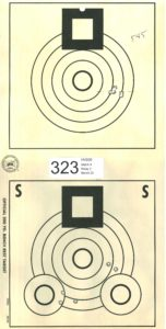 "Benchrest rifle target shot in a nine o'clock wind - 0.545"" 5-shot group at 200 yards"