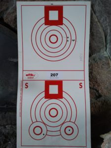 300-yard benchrest target showing a 0.3 Minute of Angle group